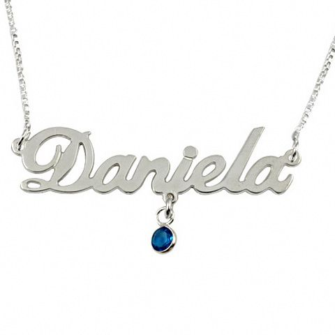 52699b6a6 Carrie-Style Name Necklace with Swarovski Birthstone, Silver | My Name  Collection
